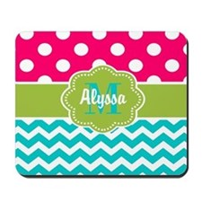 Pink Green Teal Chevron Personalized Mousepad