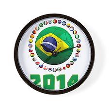 Brazil Soccer 2014 Wall Clock