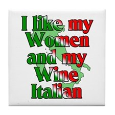 Women and Wine Italian Tile Coaster