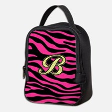 HOT PINK ZEBRA GOLD B Neoprene Lunch Bag