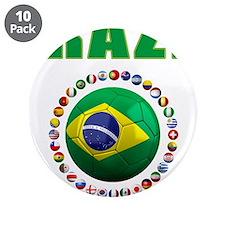 "Brazil Soccer 2014 3.5"" Button (10 pack)"