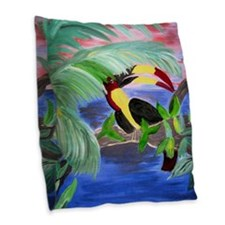 toucan in the rainforest.jpg Burlap Throw Pillow