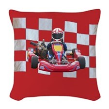 kart and checkered flag with red background Woven