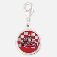 kart and checkered flag with red background Charms