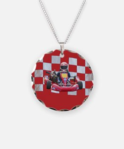 kart and checkered flag with red background Neckla