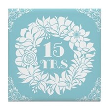 15th Anniversary Wreath Tile Coaster