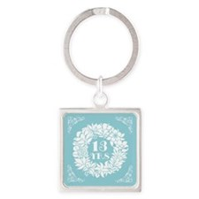 13th Anniversary Wreath Square Keychain