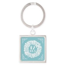 12th Anniversary Wreath Square Keychain