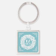12th Anniversary Wreath Square Keychain