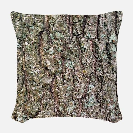 Tree Bark Woven Throw Pillow