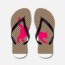 Pink Cat on Brown and White Polka Dots Flip Flops