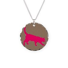 Pink Cat on Brown and White Polka Dots Necklace