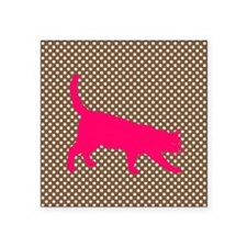 Pink Cat on Brown and White Polka Dots Sticker