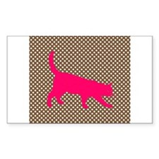 Pink Cat on Brown and White Polka Dots Decal