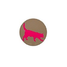 Pink Cat on Brown and White Polka Dots Mini Button