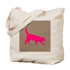 Pink Cat on Brown and White Polka Dots Tote Bag
