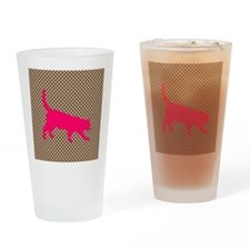 Pink Cat on Brown and White Polka Dots Drinking Gl