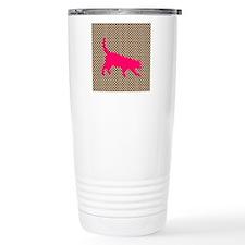 Pink Cat on Brown and White Polka Dots Travel Mug