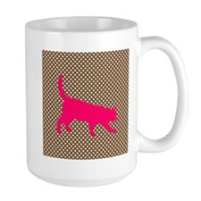 Pink Cat on Brown and White Polka Dots Mugs