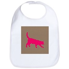 Pink Cat on Brown and White Polka Dots Bib