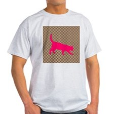 Pink Cat on Brown and White Polka Dots T-Shirt