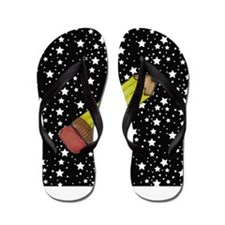 Pencil on Black and White Stars Flip Flops