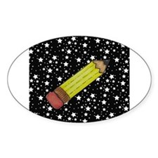 Pencil on Black and White Stars Decal