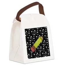 Pencil on Black and White Stars Canvas Lunch Bag