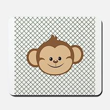 Monkey on Green and White Lattice Mousepad