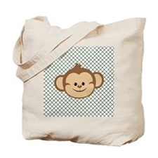 Monkey on Green and White Lattice Tote Bag