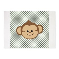 Monkey on Green and White Lattice 5'x7'Area Rug