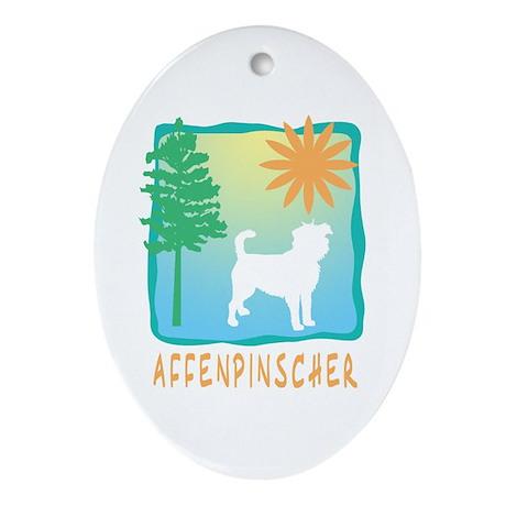 Affenpinscher, Tree & Sun Ornament (Oval)