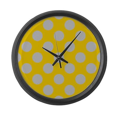 silver and gold polkadots large wall clock by polkadotpattern
