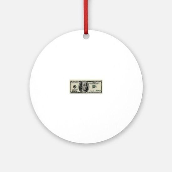 100 Dollar Bill Ornament (Round)