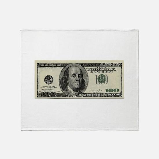 100 Dollar Bill Throw Blanket