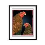 Chantecler Rooster and Hen Framed Panel Print