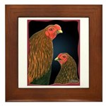 Chantecler Rooster and Hen Framed Tile