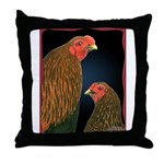 Chantecler Rooster and Hen Throw Pillow