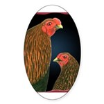 Chantecler Rooster and Hen Oval Sticker