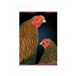 Chantecler Rooster and Hen Rectangle Sticker