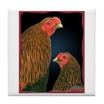 Chantecler Rooster and Hen Tile Coaster