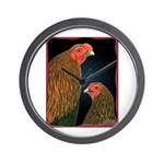 Chantecler Rooster and Hen Wall Clock