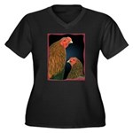 Chantecler Rooster and Hen Women's Plus Size V-Nec