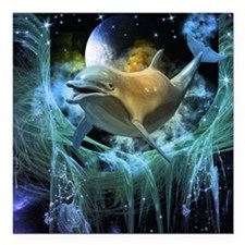 """Dolphin in the universe Square Car Magnet 3"""" x 3"""""""