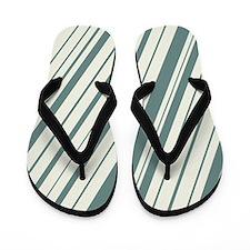 Retro Dark Teal and White Stripes Pattern Flip Flo