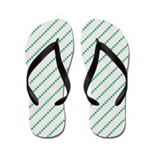Diagonal Teal and off-white Stripes Flip Flops