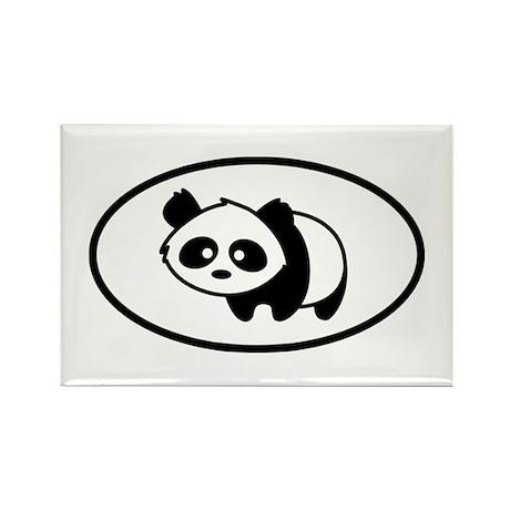 Little Panda Oval Rectangle Magnet