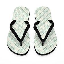 Light Green Plaid Pattern Flip Flops