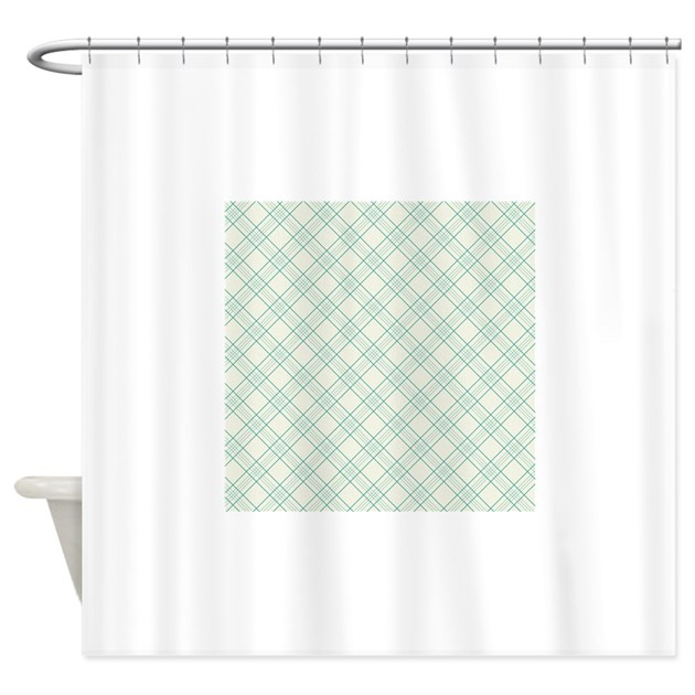Light Green Plaid Pattern Shower Curtain By Clipartmegamart