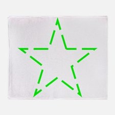 Neon Green Star Dotted Outline Throw Blanket